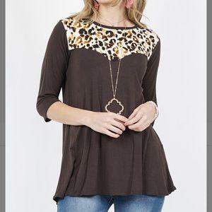 Brown Leopard Three Quarter Sleeve Top